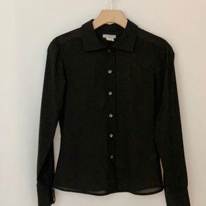J. Crew Sheer Black Button-Down Blouse
